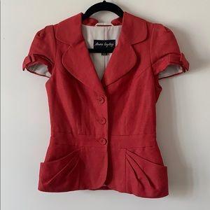 Sandra Angelozzi Puff Button Blazer Red Size 32